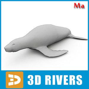 3d fbx polygonal fur seal