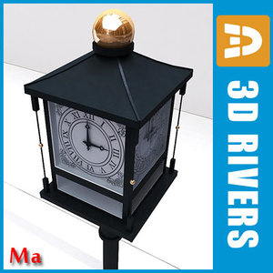 3d street clock old 01 model