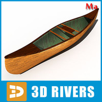 3d wooden canoe model