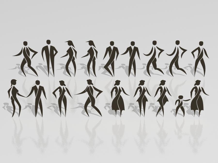 3d stylized people set