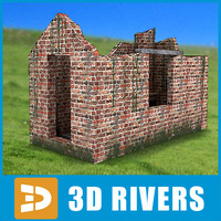 3d ruined brick building model