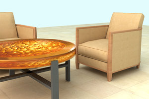 3ds max amber table club chairs
