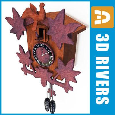 antique cuckoo clock wall 3d max