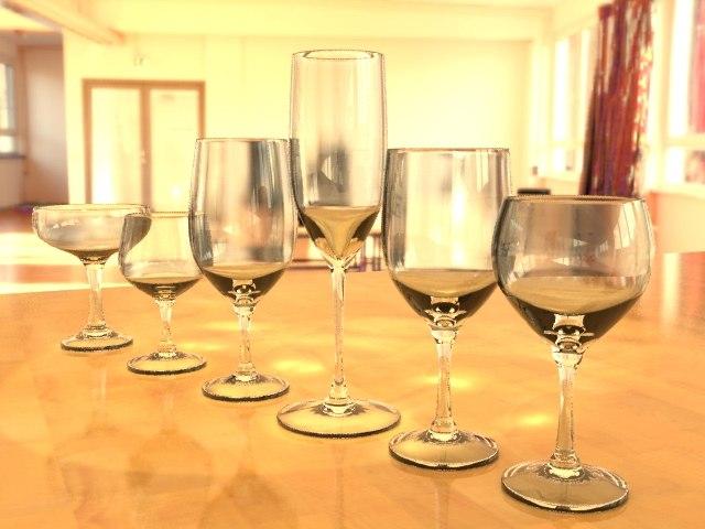 3d model of set wine glasses