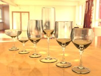 3d model of set wine glasses