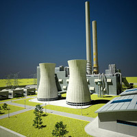 traditional coal power plant 3d model