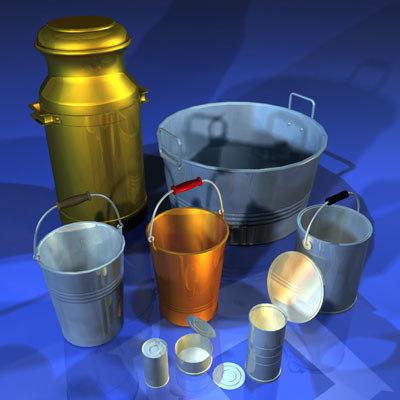 metal container 01 bucket 3d obj