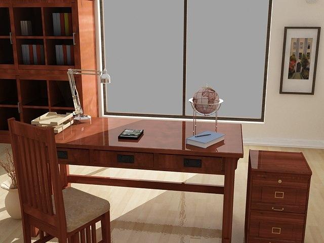 3d mission oak furniture set model