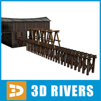 3d old wooden hangar