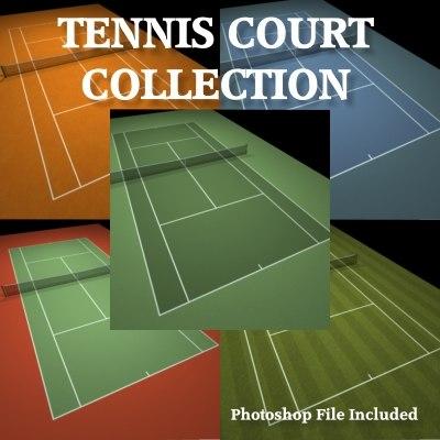 3d model tennis courts
