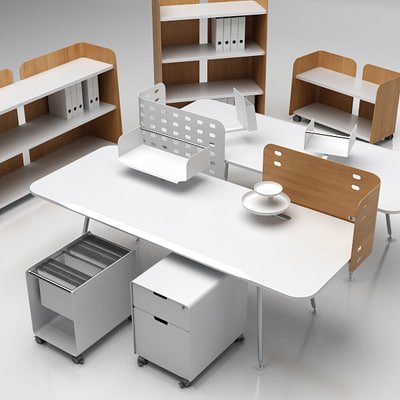 office set furniture vitra 3d model