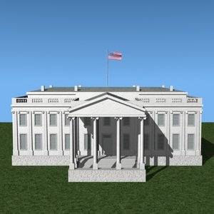 3d white house model