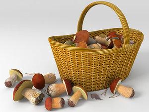 boletus mushrooms basket 3d model