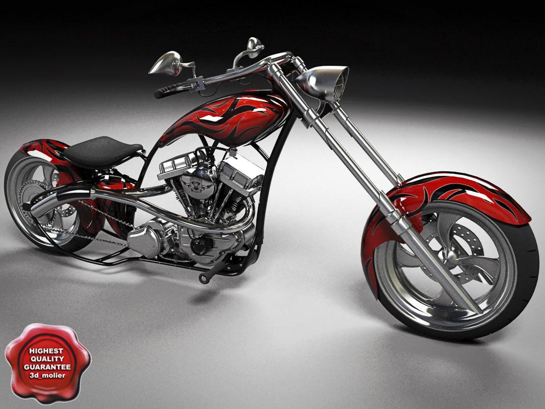 custom chopper motorcycle 3d model