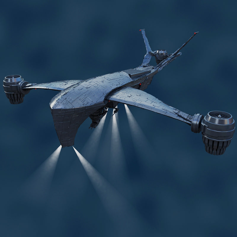 hunter killer aerial t 3d model