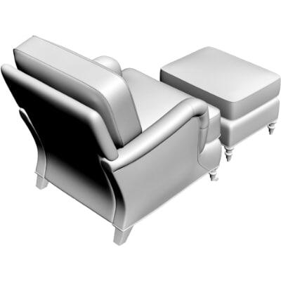armchair ottoman obj