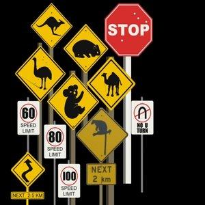 3d model signs warning