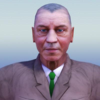 elderly businessman 3d model