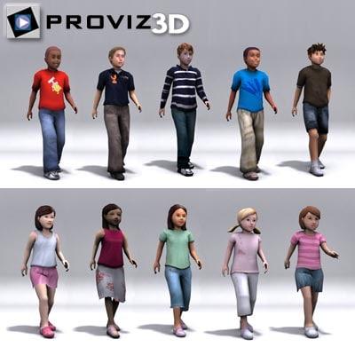 walking children 3d model