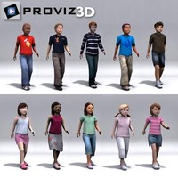walking children 3d model