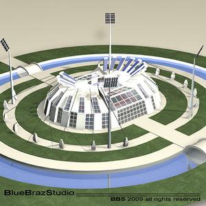 athletic stadium 3d obj