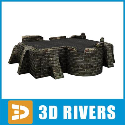 3d basement ruined building