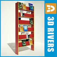 3d bookshelf books model