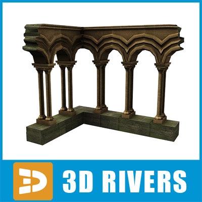 corner arch ruined building 3d model