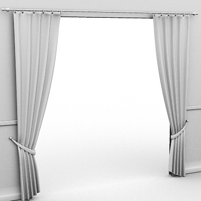 3d model curtains tied