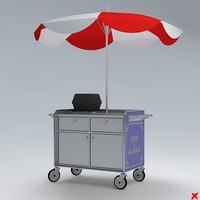3d model hot dog cart
