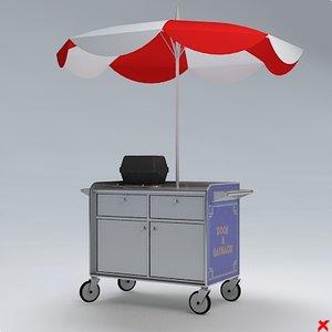 3d model hot dog cart