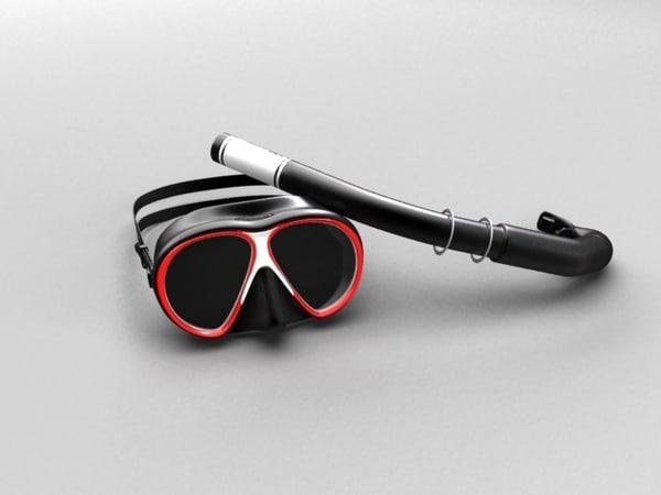 glasses tube diving 3d model