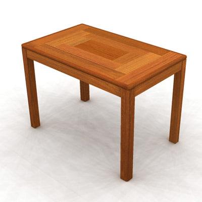 teak end table 3d model