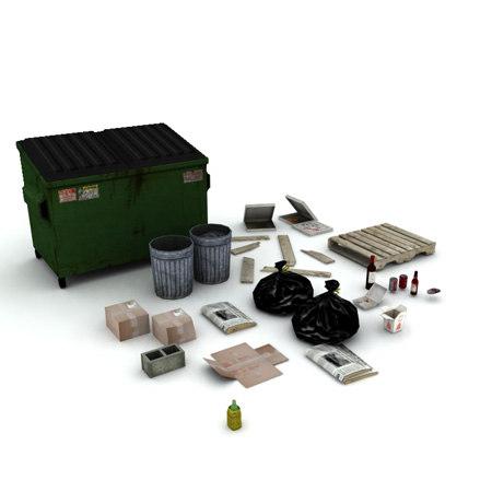 3d trash litter props