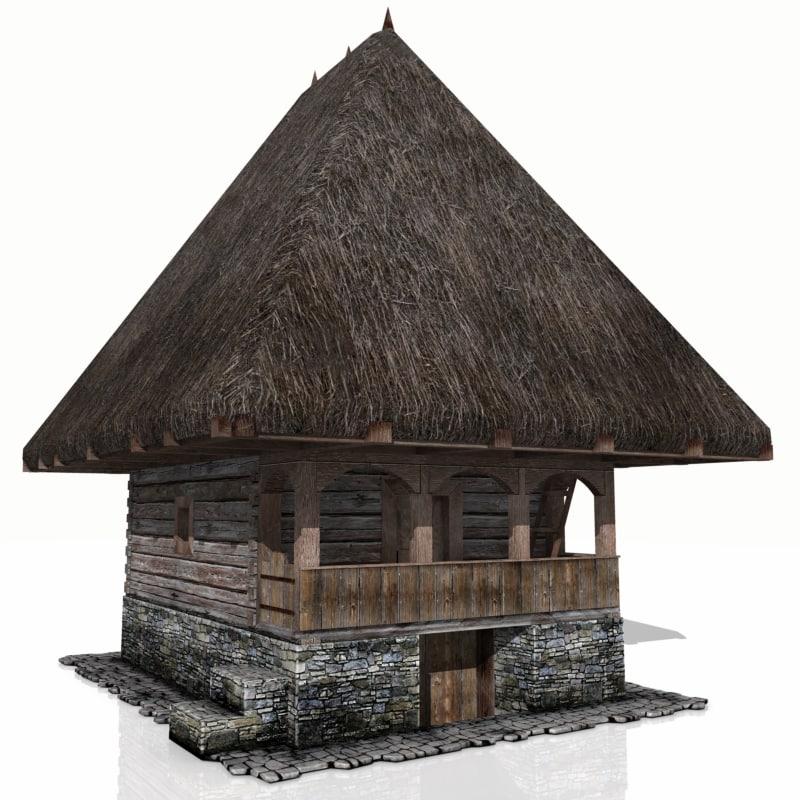 rustic house sumer kitchen obj