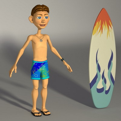 boy surf 3d model