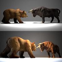 3d bear bull