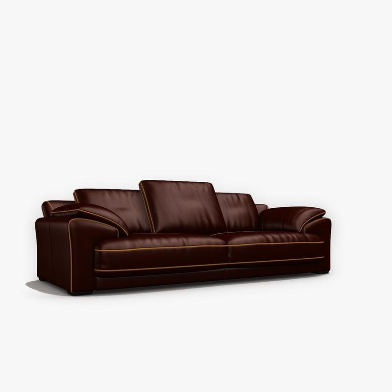 3ds max baxler leather sofa