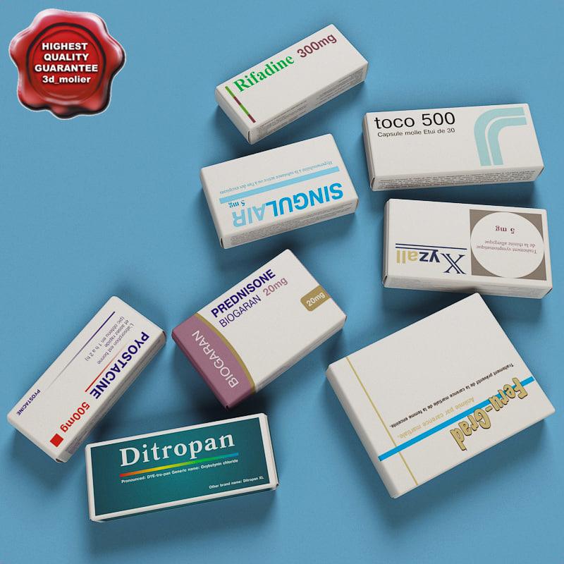 medicines boxes 3d max