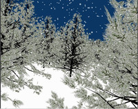 3d blend forest pine trees snow scene