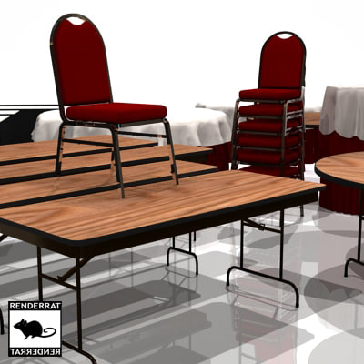 3d 3ds catering tables chairs