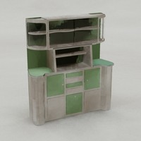 3d art deco kitchen cuboard