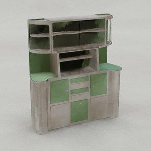 3d art deco kitchen cuboard