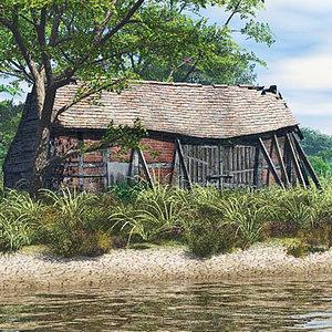 barn building 3d obj