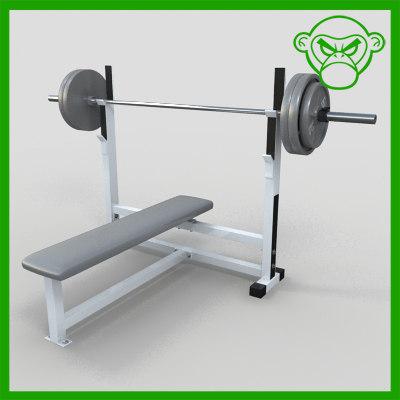 flat bench weight 3d obj