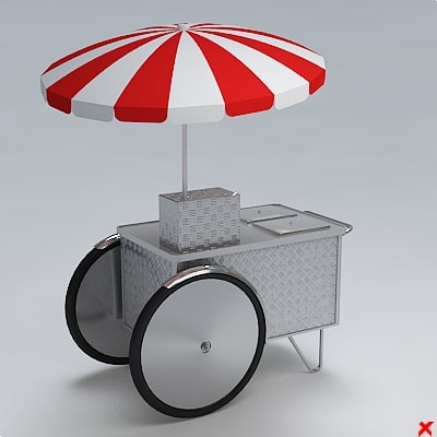 hot dog cart 3d model