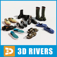 3d men shoes set model