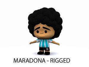 3d max cartoon maradona