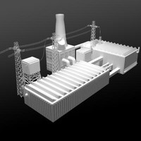 3d lwo factory buildings low-poly