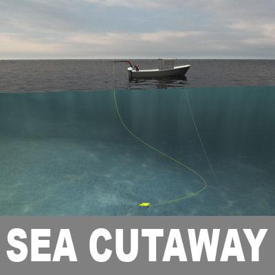 cutaway ocean underwater scenes 3d model